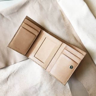 Edition style _ leather tri-fold short clip _ coin bag _ Polaroid compartment _ light brown