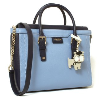 French Bulldog Dual Color Leather Tote
