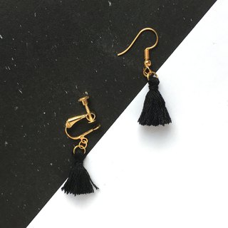 Handmade Tassel Earrings Earclips Rose Gold Series-black limited