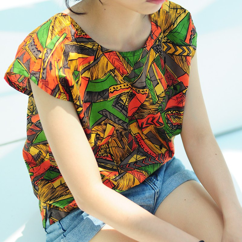 Summer double-sided square collar round neck simple top - retro graffiti printing Japanese rare cotton-2way