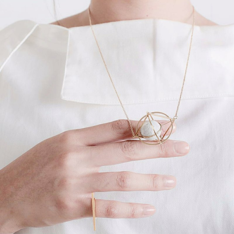Mush - Brass Triorbital Necklace, Space Jewelry, Geometric necklace, astronomy