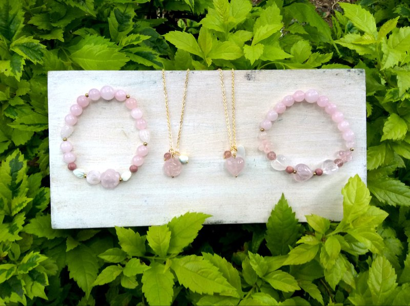[Psychic healing. Crystal stone jewelry. Handmade class] Rose heart bracelet necklace combination