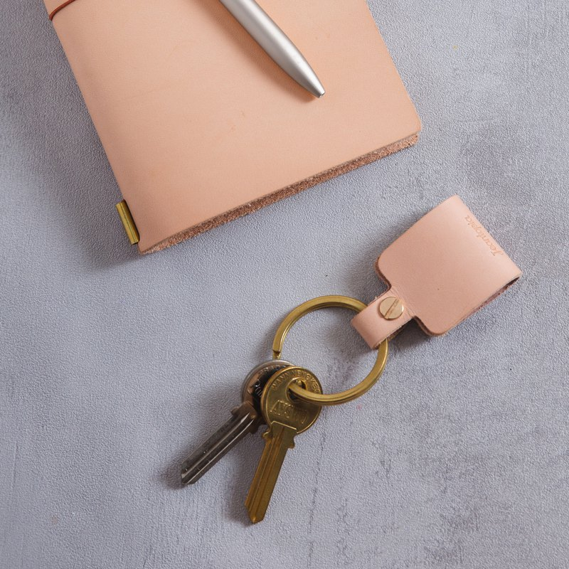 Leather key ring / square leather buckle / 8260104