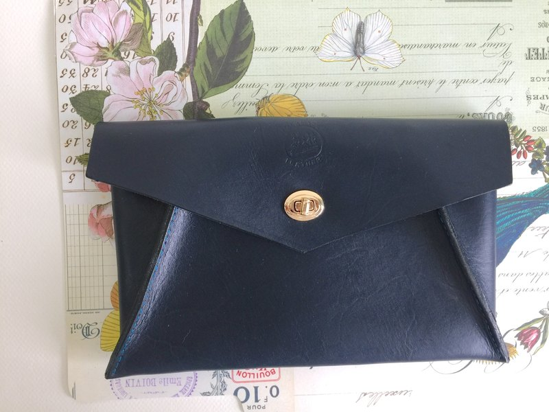 Elegant envelope bag _ leather hand stitched banquet bag