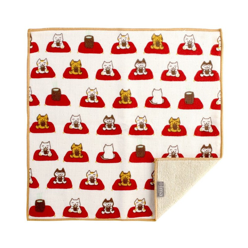 Japan Prailiedog Imabari Organic High Quality Pure Square Towel - Cat and Tea