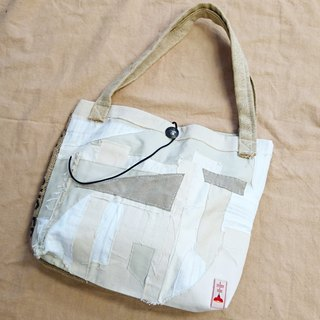 Simple pastoral style patchwork beige white mosaic spelling beans Ma Bu Tuote bag / shoulder bag / backpack single