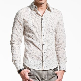 Chest pressure pleated thin long-sleeved shirt printing