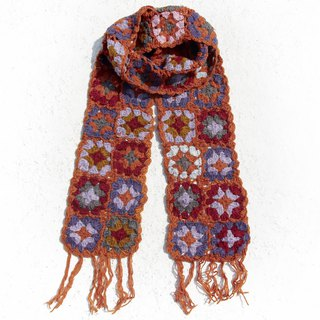Christmas gift exchange gifts limited a handmade crocheted wool scarves / flowers crocheted scarves / crocheted scarves / hand-knit scarves / flowers woven stitching wool scarves - orange stitching Nordic forest wind flower scarves