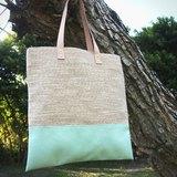 自然風手提包-湖水綠