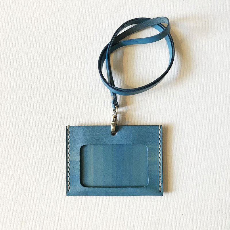 Identification Card Set + Neck Band_Horizontal_Double Card Layer_Sky Blue_ID Holder