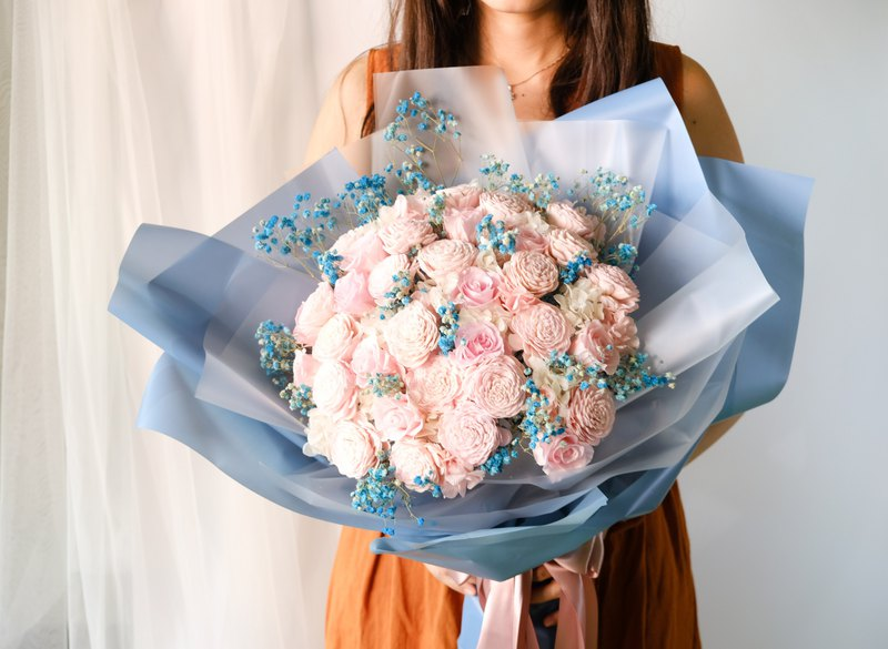 Flower dare Sen live pink / blue / immortal flower / no withered flowers / dry flowers / marriage proposal, confession bouquet