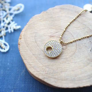 Golden Christmas-zircon brass necklace
