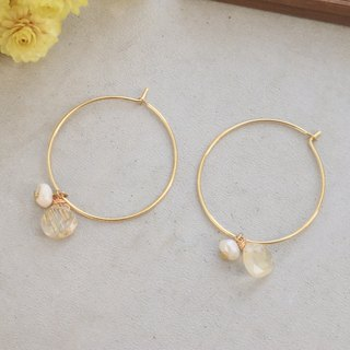 Strawberry Crystal Blonde Pearl Earrings 1102 - Love You