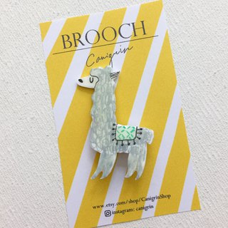 Grass mud horse brooch handmade illustration jewelry pin badge