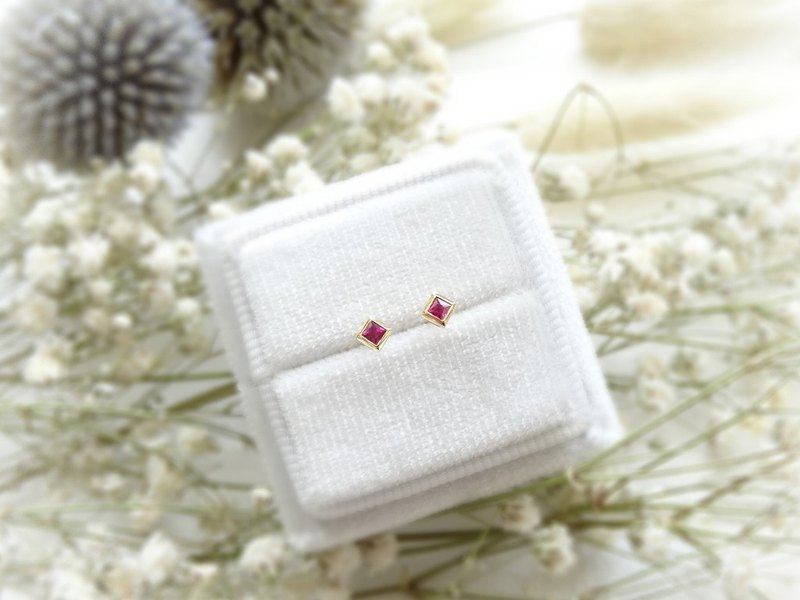 Natural Petite Ruby Square Princess Cut 18K White Solid Gold Stud Earrings