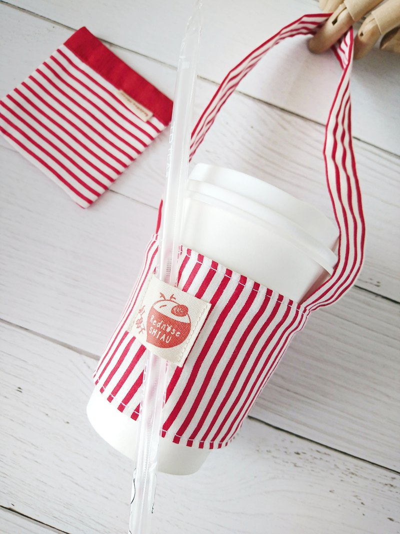 Stripes in hand - Christmas red cup set