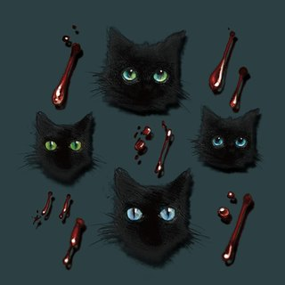✡ mark poem - little black cat and small bite marks color version ✡ illustrations tattoo stickers vampire vampire tattoo stickers