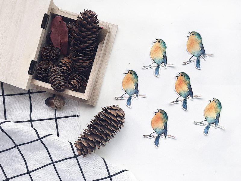 Hand painted stickers watercolor calliyan stickers birds