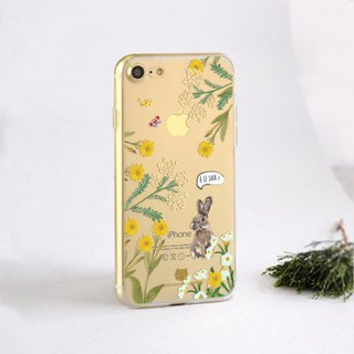 Bunny clear phone case Floral iPhone 8 Case Samsung A5 case ASUS Zenfone 4 max