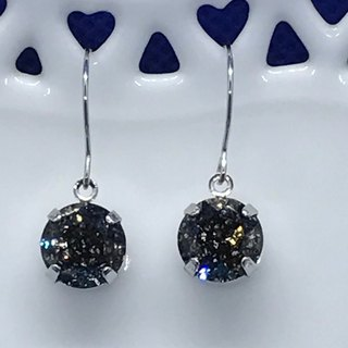 Val.F ear hook earrings. Black Swarovski crystal