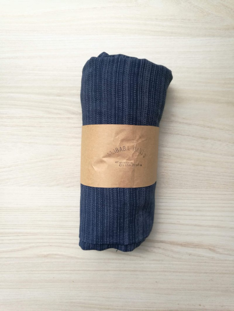 Travel pants - Alibaba pants (deep blue) (single pocket) (striped cotton and linen)