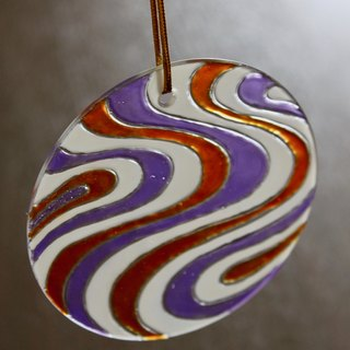 Nostalgic wind wave pattern purple x orange personality glass ornaments home decoration design small things
