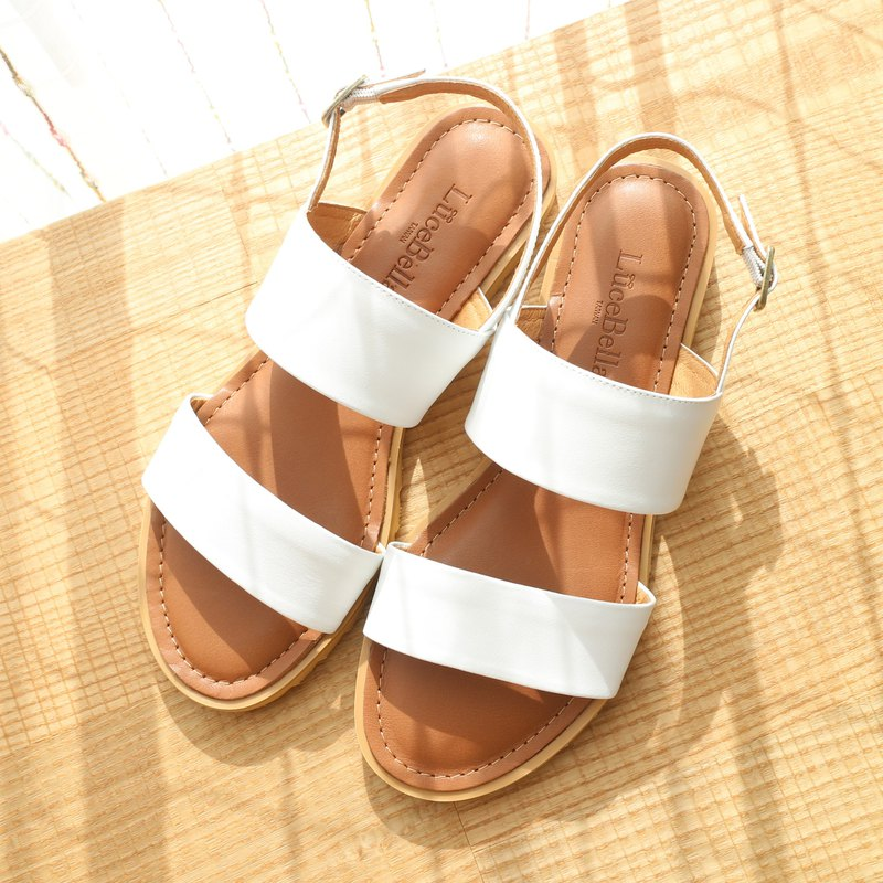 [Daylight and Night] full leather simple sandals - white