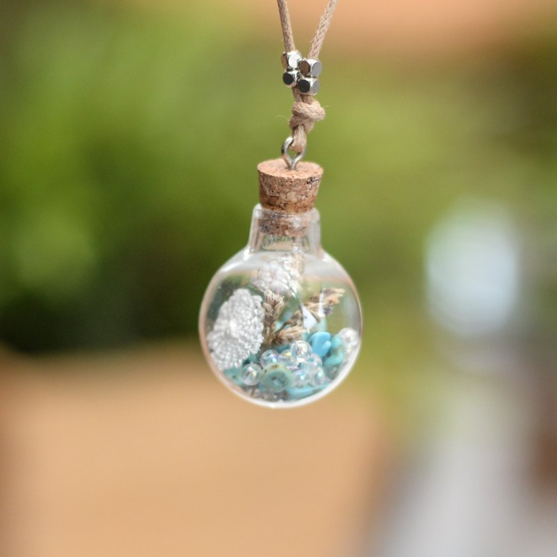 Glass Globe necklace Mixed with Turquoise, beads, crochet and dried rice plant by Niyome craft