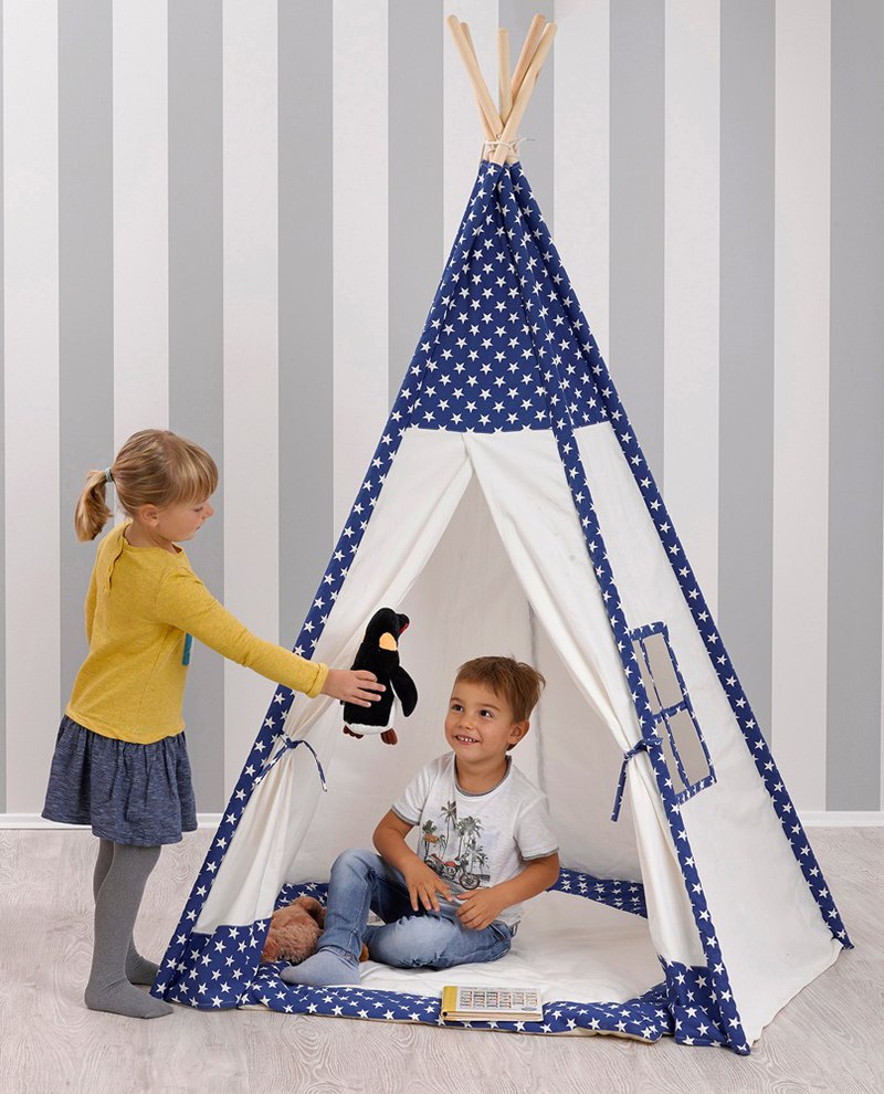 Cats also love hide and seek. Indian children's play tent