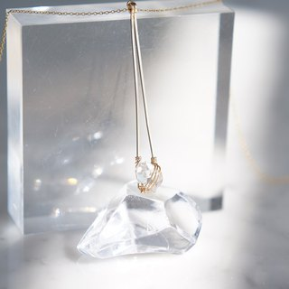 【Minimalism】 14 KGF Long Triangle Bar Necklace, Gemstone Dream Crystal-NY Herkimerd