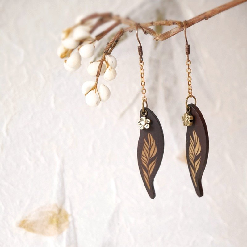 Prayer Bamboo Leaf Chain -  Earring
