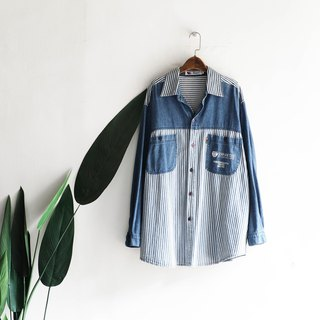 Aomori water blue striped stitching hand antique cotton denim shirt jacket coat oversize