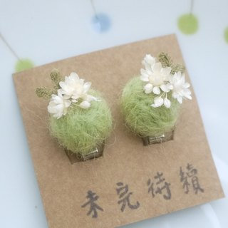 To be continued | fresh and dried flower earrings wool felt cramping girl gift jewelry spot