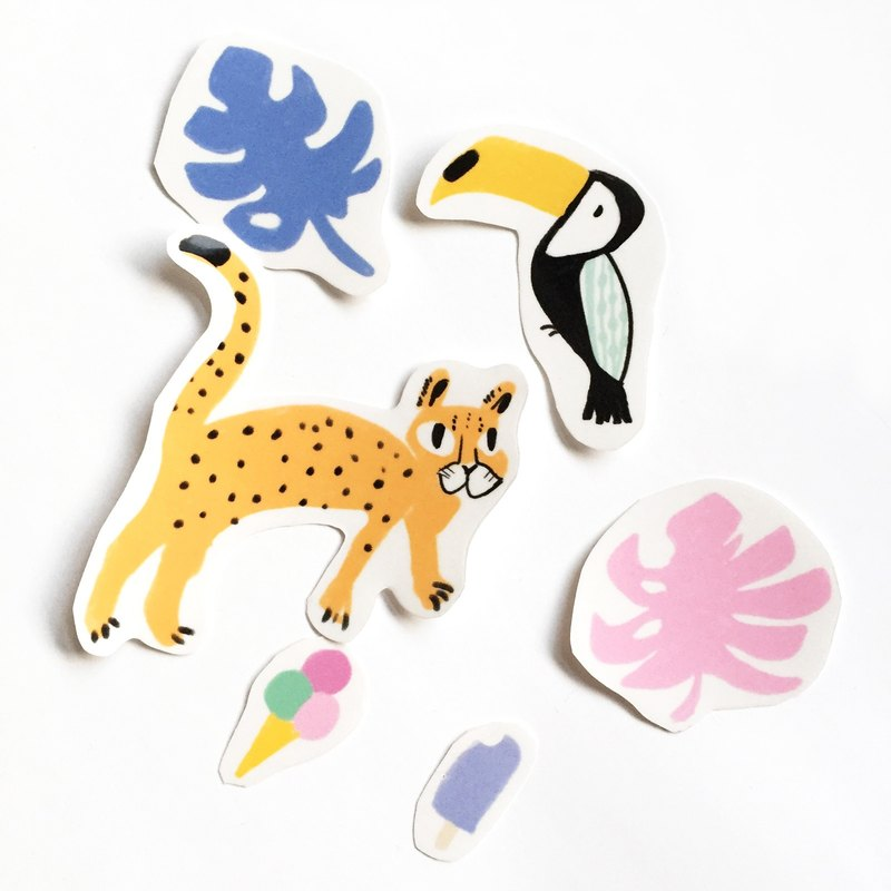 Leopard and Toucan Big Sticker - Tropical Rainforest Eating Ice Cream Hand Cut Transparent Sticker Pack One Pack Six In