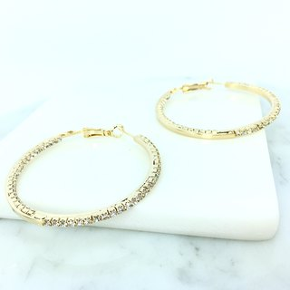 Gold earrings diamond pieces arc
