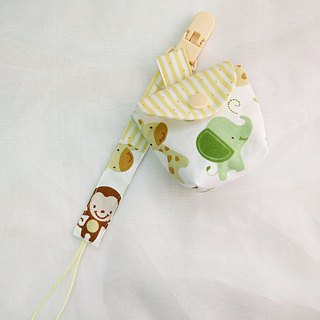 Monkey elephant good friend. Pacifier storage bag + pacifier chain set (up to 40 embroidery name)
