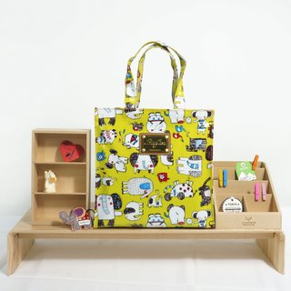 Picture book like waterproof bag - yellow green