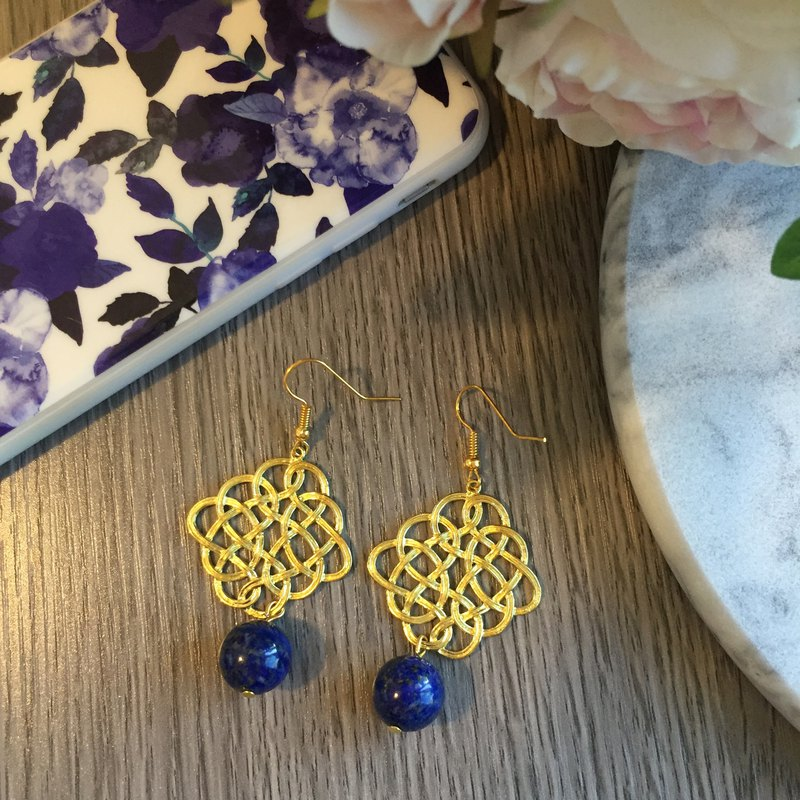 Gold-Tone Endless Knot Earrings with Lapis Lazuli drop
