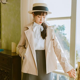 Early autumn wear new 2018 wear recommended pearl buckle shirt short windbreaker jacket set