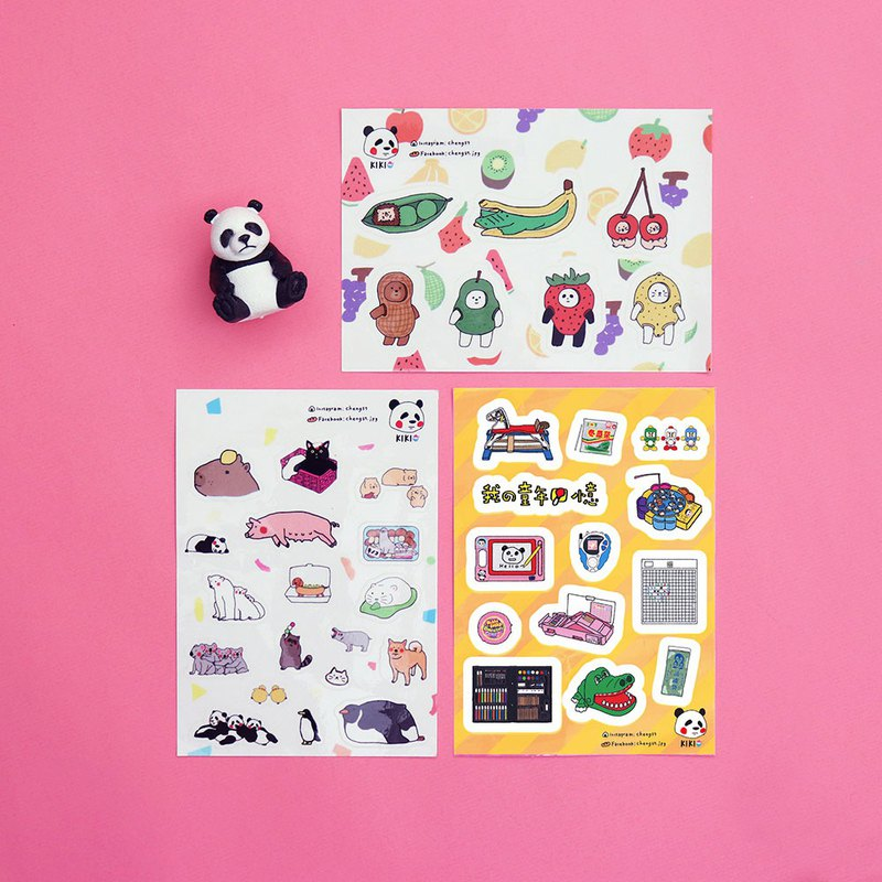 Animal 01+ childhood memories + fruit story / styling transparent stickers (three in a group)