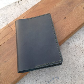 A6 notebook, book cover with muji book, put card, insert pen hand-sewn, leather deep dark green