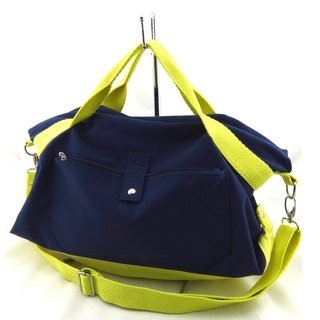 Canvas tote canvas 2 with bag - dark blue / yellow