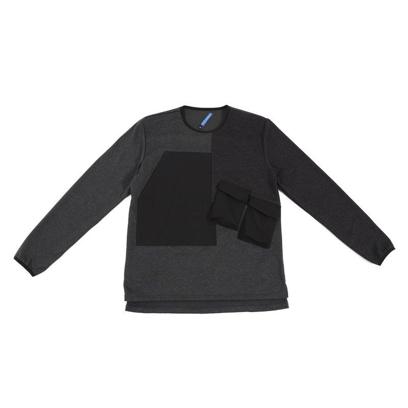 【新年換新衣】Chasm 幾何口袋針織上衣-黑