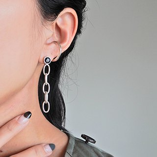 CZ Ashime Chain Earrings / silver