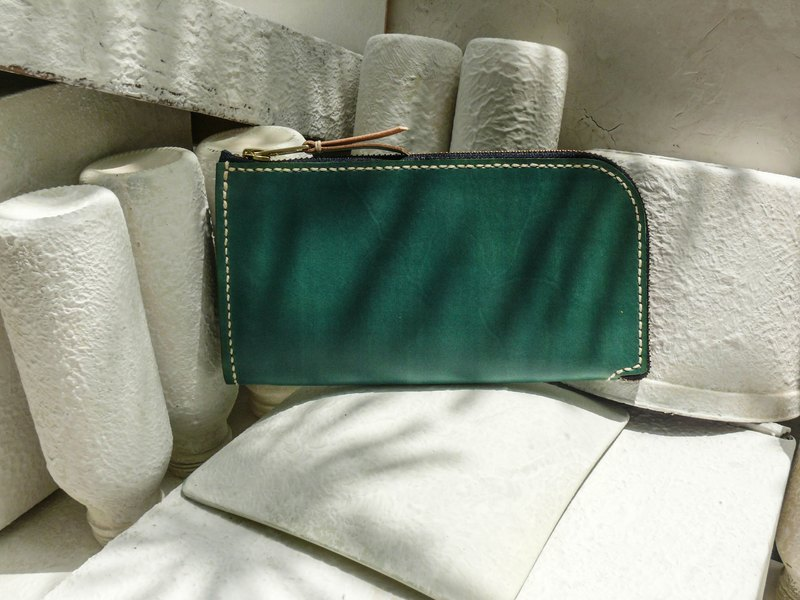 Do not hit the bag green grass vegetable tanned leather full leather universal wallet