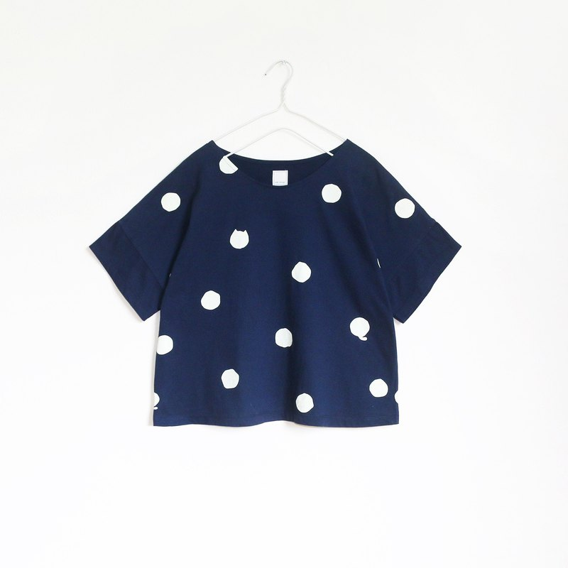 polka dot cat crop t-shirt : navy