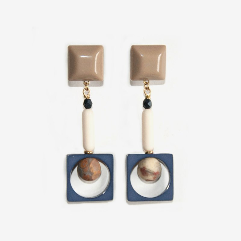Khaki Square Earrings