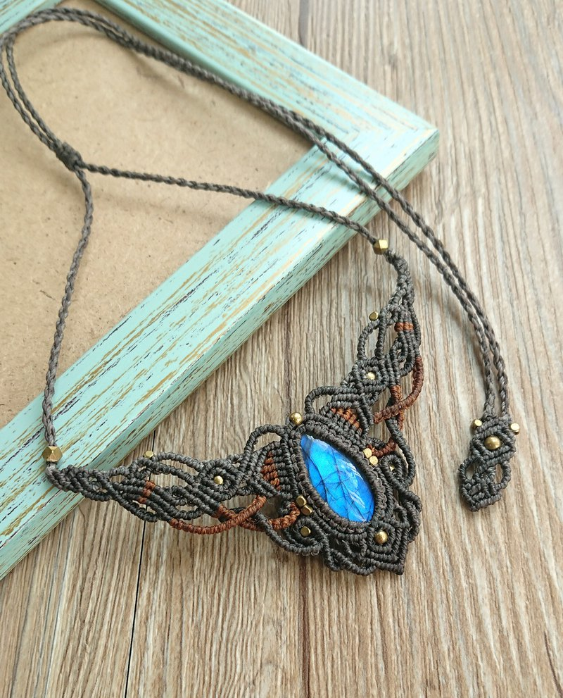 Misssheep-N23- ethnic style double color South American wax braided brass labradorite necklace / clavicle chain