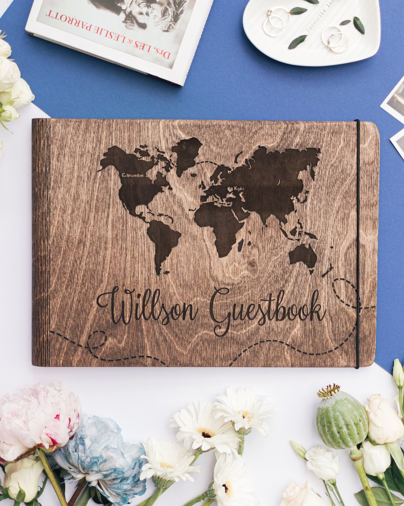 Gift For Couple Custom Wedding Book Monogram Guest Book Wedding Guest Book