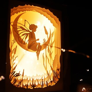 | Light and Shadow Story | Mini Paper Carved Night Light | Butterfly Elf Girl |